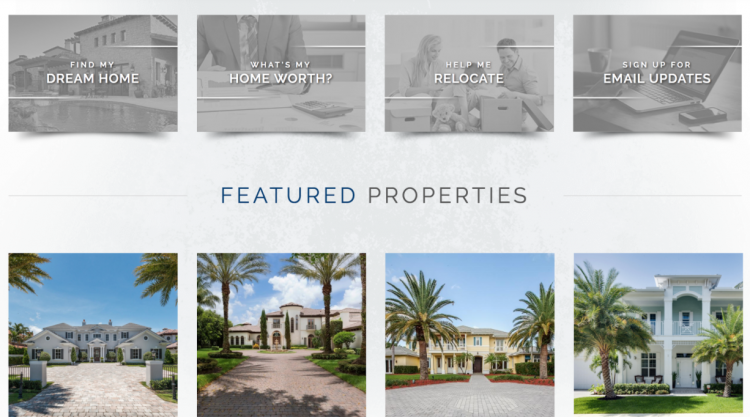Real Estate Agent Websites featured properties listing menu