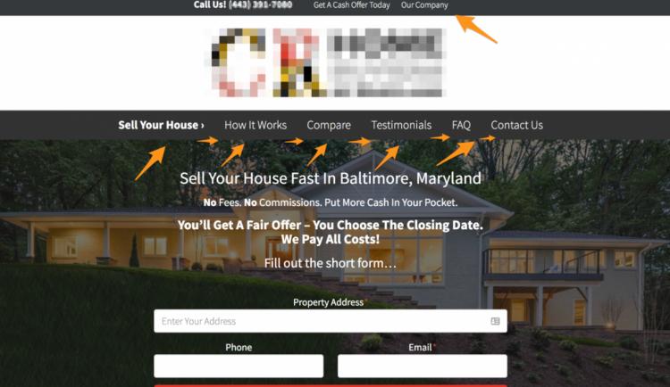 investorcarrot real estate website menu