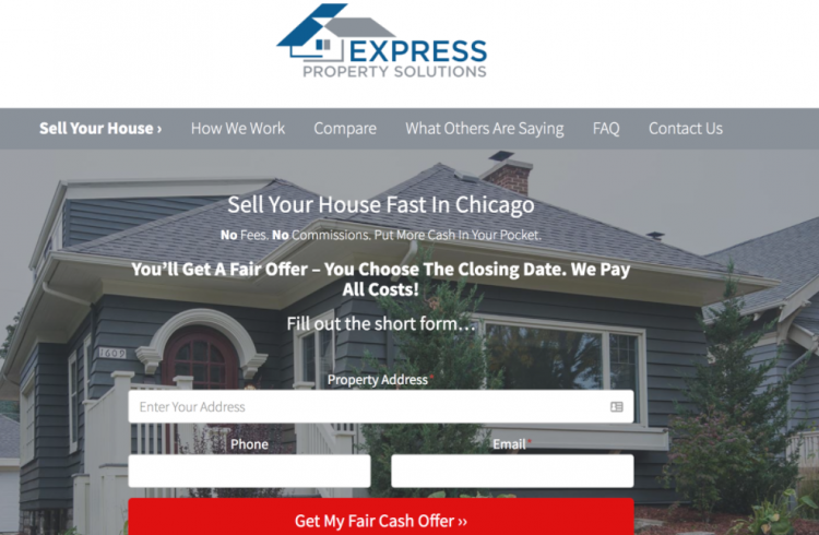 real estate investor landing page location template