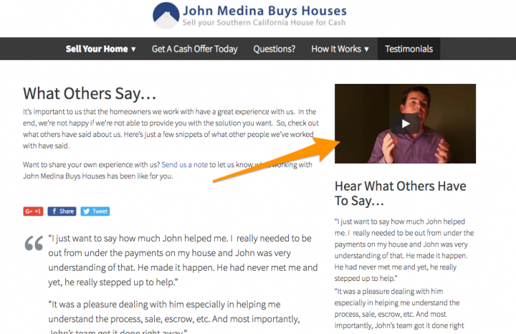 real estate website testimonials