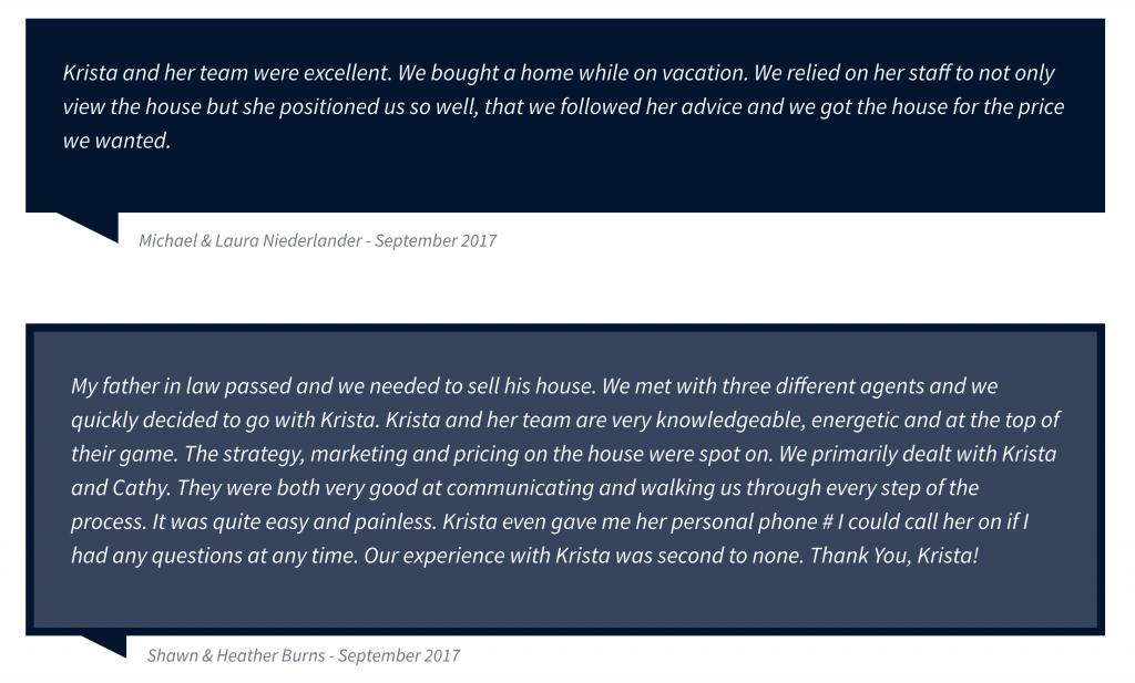 Krista Mashore Real Estate Testimonials