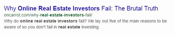 SEO for real estate investors Meta Description