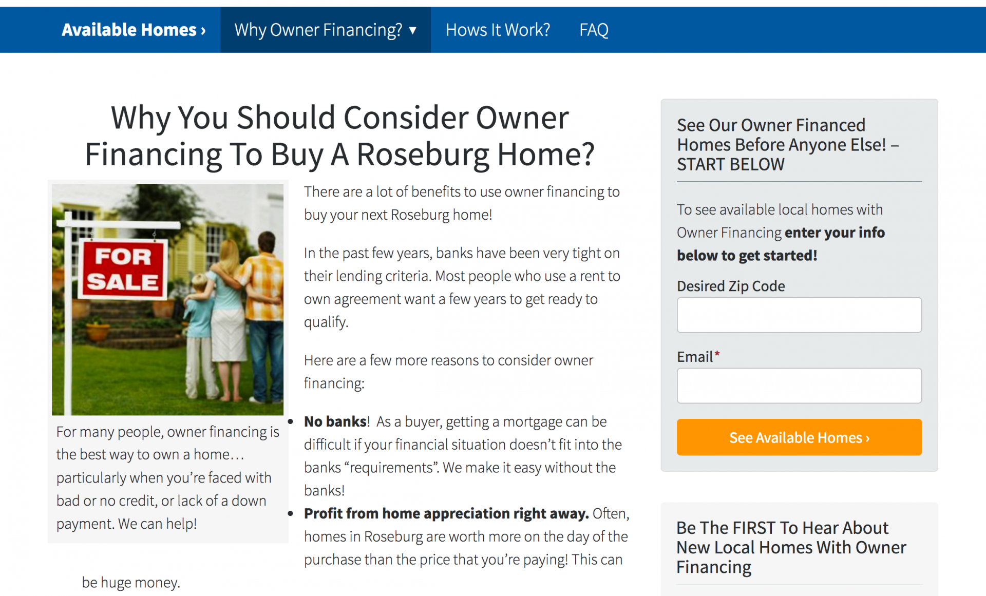 owner financing websites why use