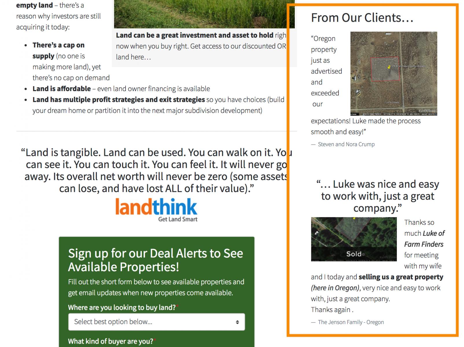 credibility score: real estate testmonials