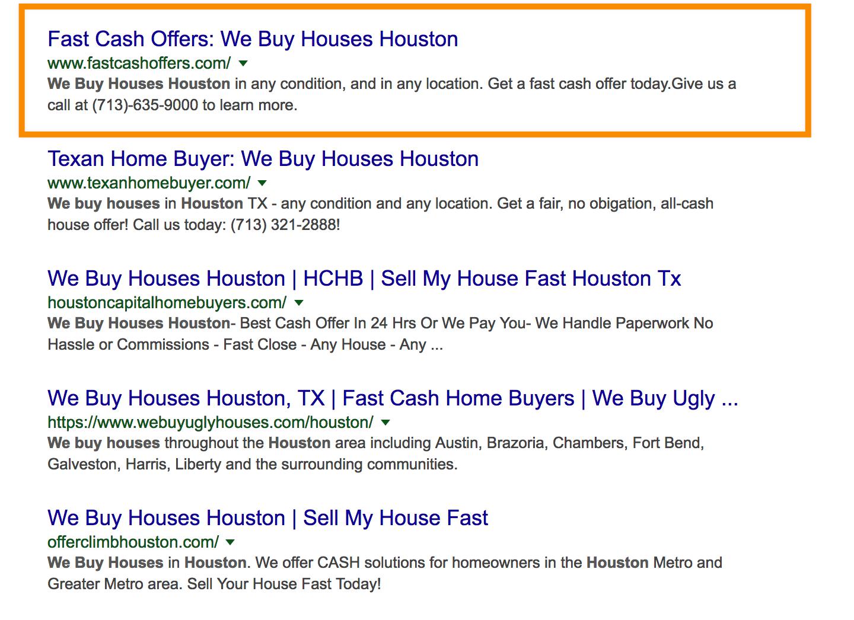 we buy houses houston seo ranking