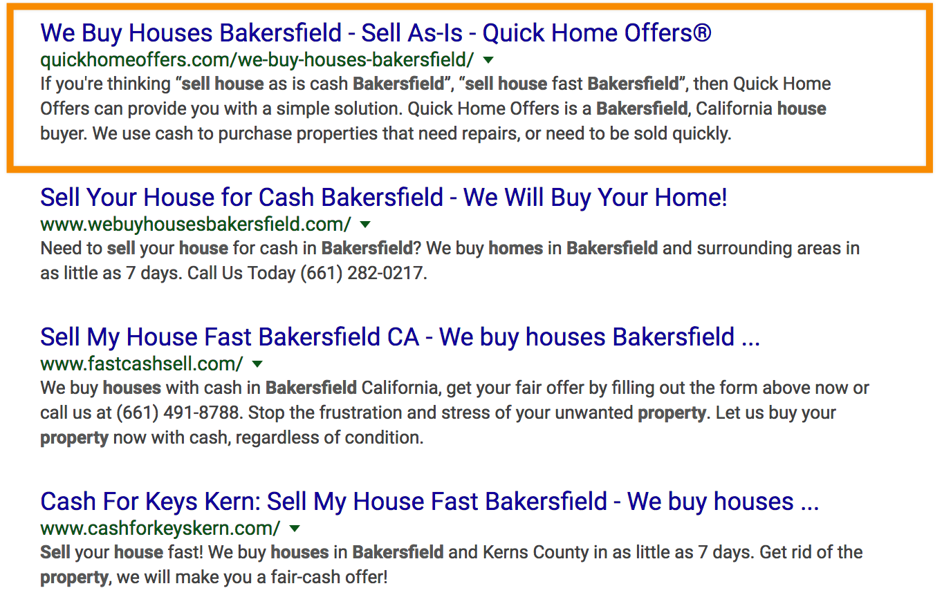seo results for sell my house bakersfield