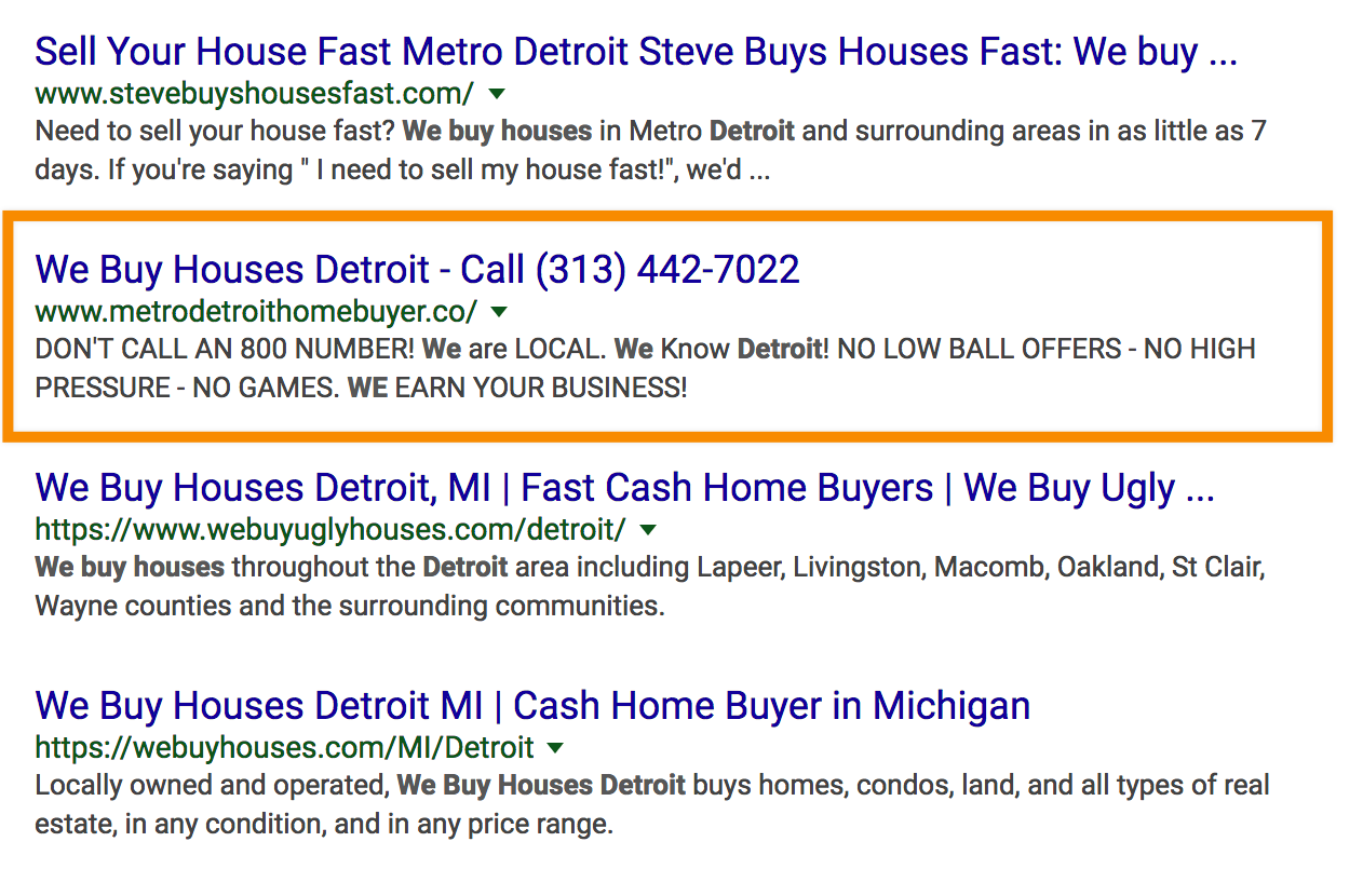 seo for real estate investors we buy houses detroit seo rankings