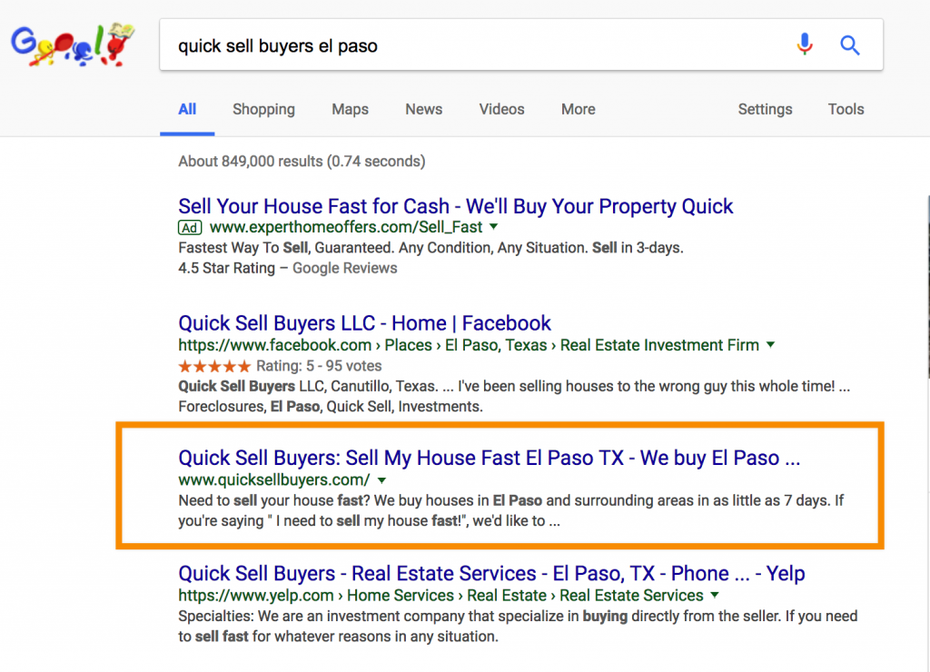 Why Is My Website Not Ranking in Google: quick sell buyers el paso