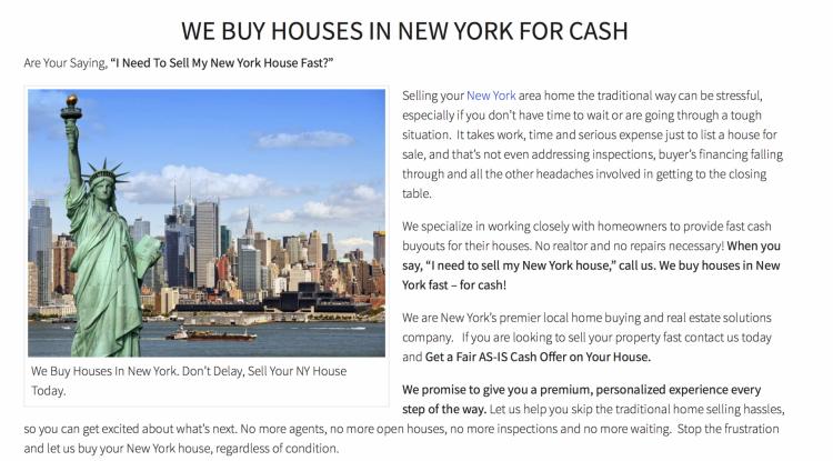 real estate investor website body content
