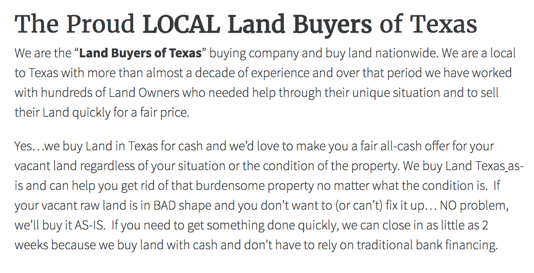 Land Seller Website Content