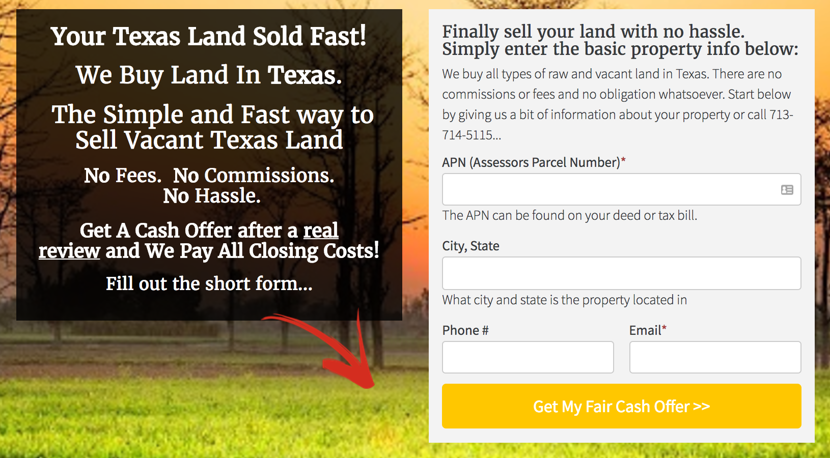Land Seller Website Template lead form
