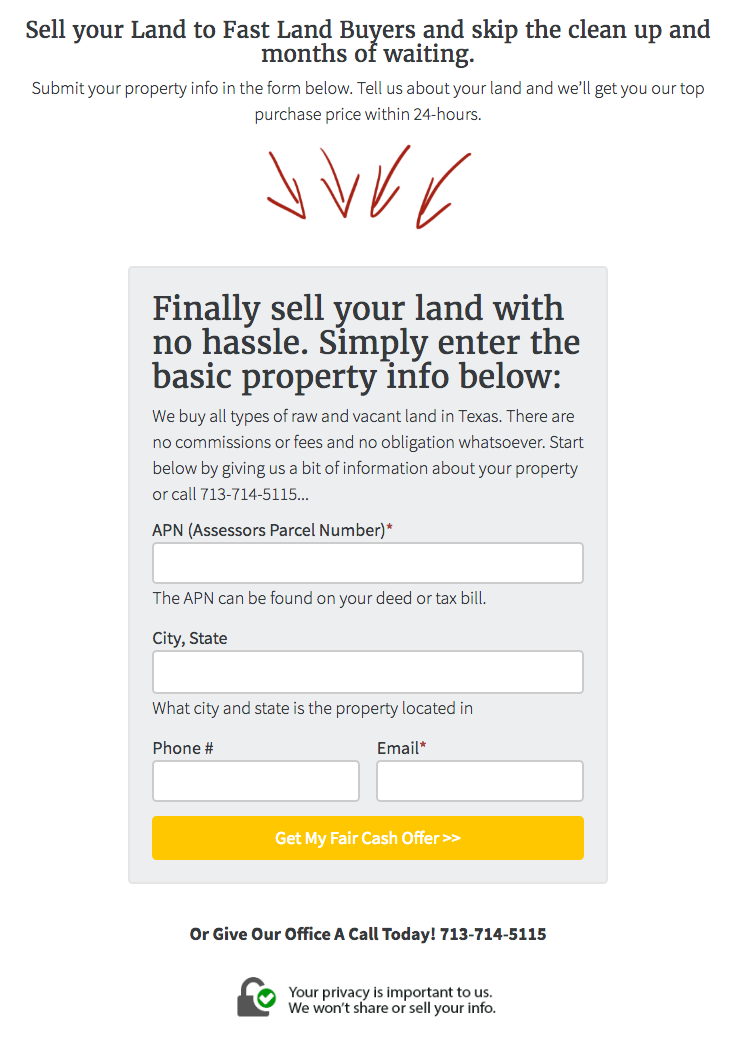 Land Seller Website APN Lead Form