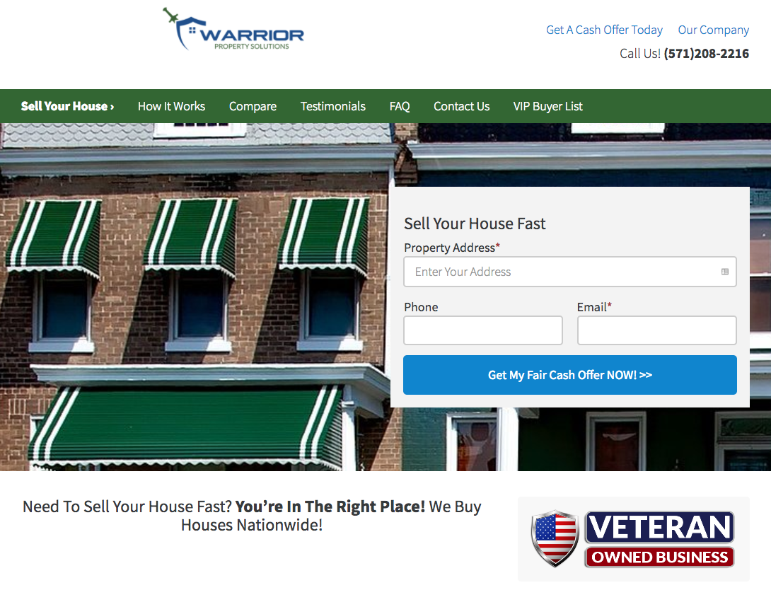 real estate investor website credibility veteran owned business