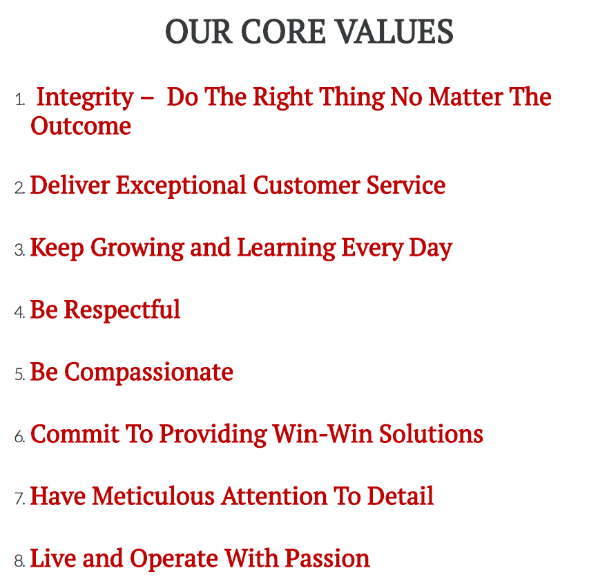 Rockwell Homes LLC Core Values