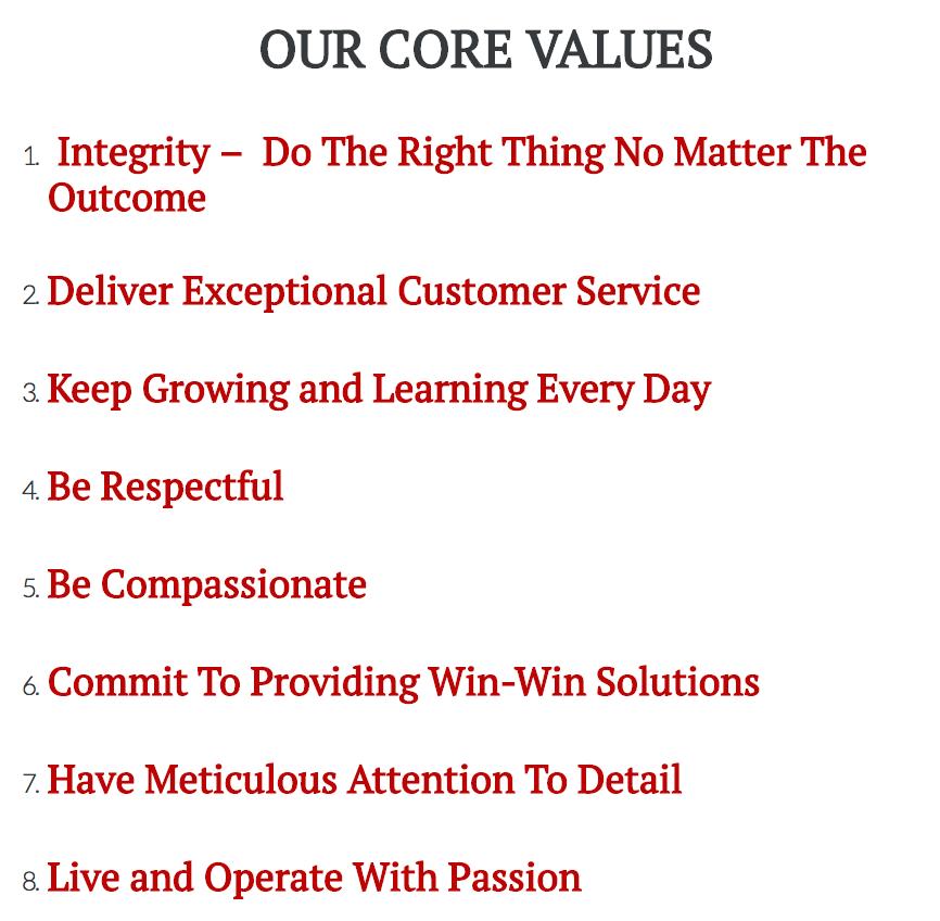 Rockwell Homes LLC Core Values