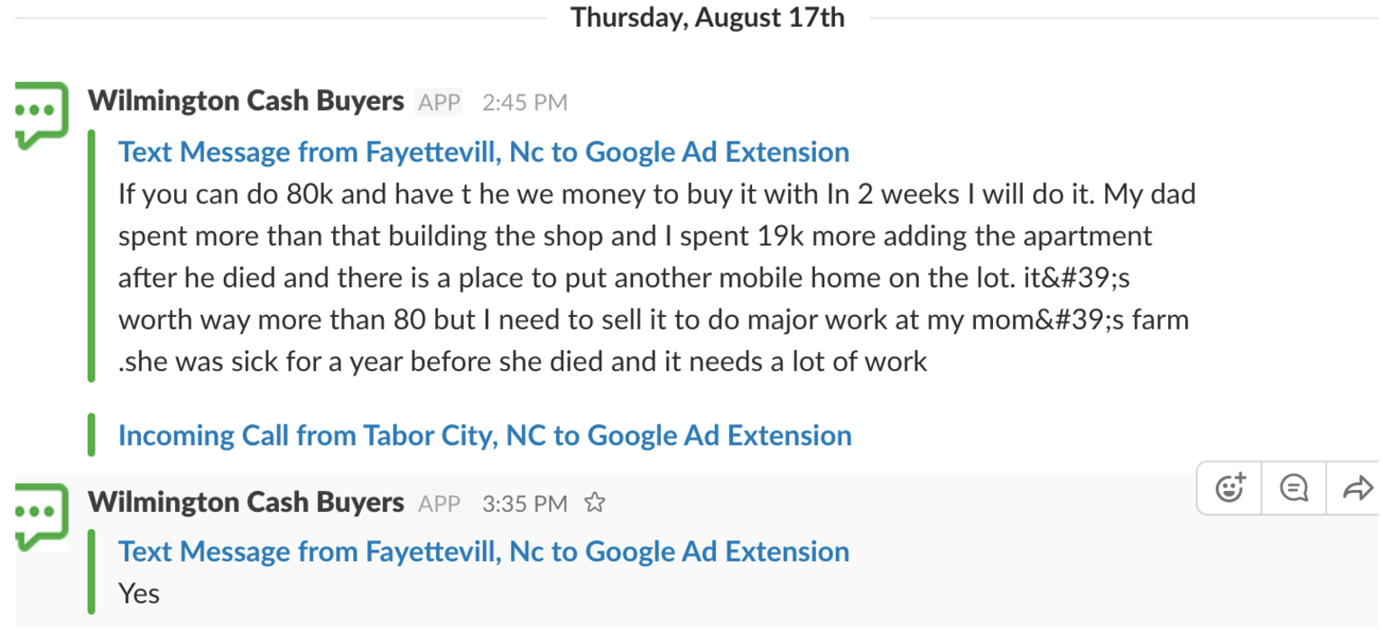 adwords click to text message example