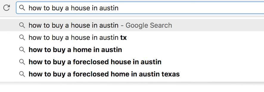 google suggest keywords for real estate agents
