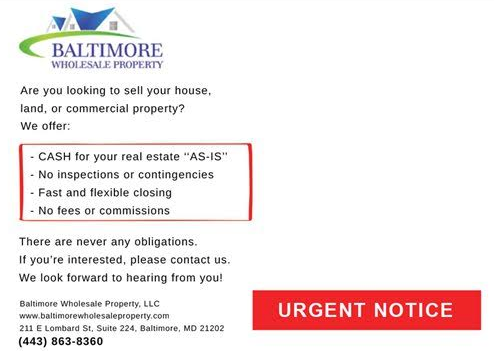 baltimore wholesale property direct mail letter