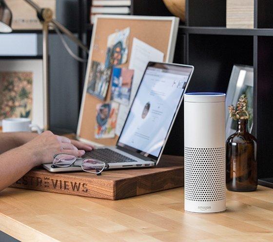 Amazon Echo Sitting On Someone's Desk