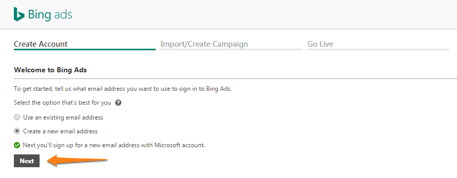 create a bing ads account step 4