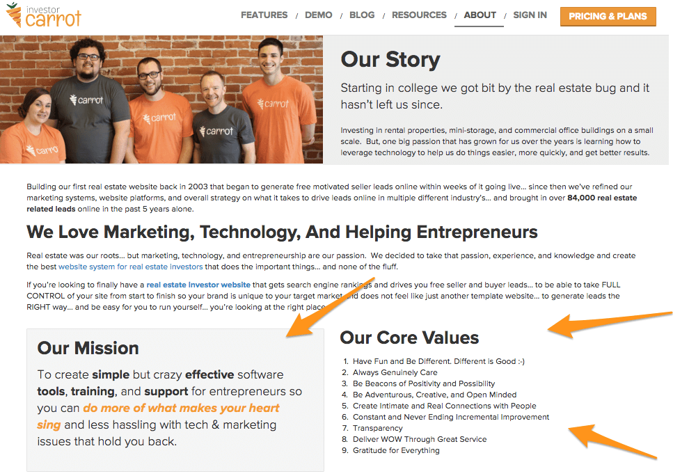 investor carrot core values