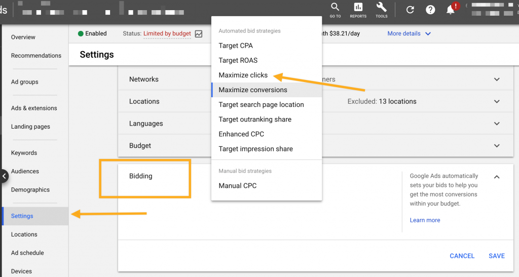 Google Ads Maximize Clicks option