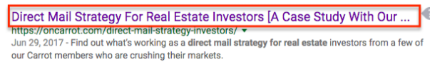 Title tag example for real estate copywriting