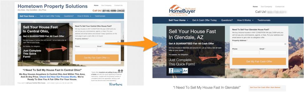 custom real estate investor website design