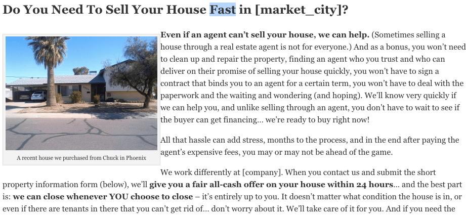custom real estate investing website content
