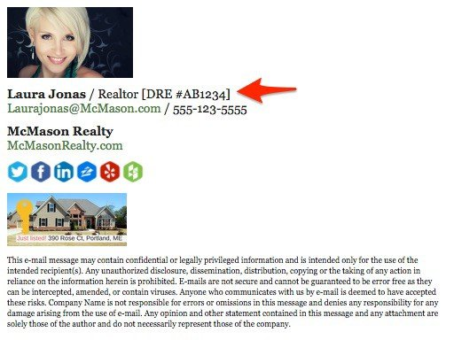 real estate agent email signature