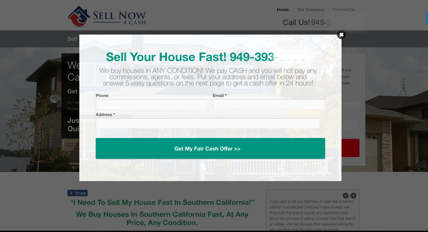 Exit Pop Test Ran On InvestorCarrot websites