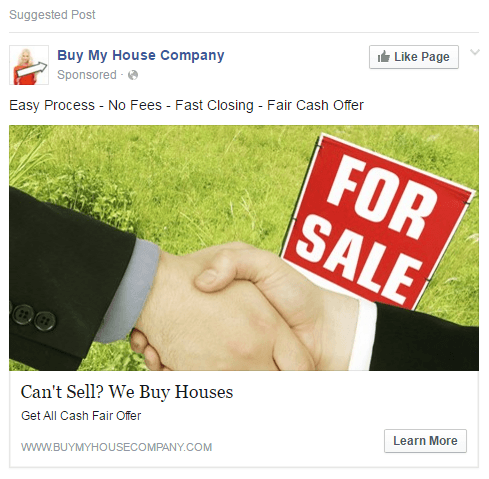 facebook ads examples for real estate investing