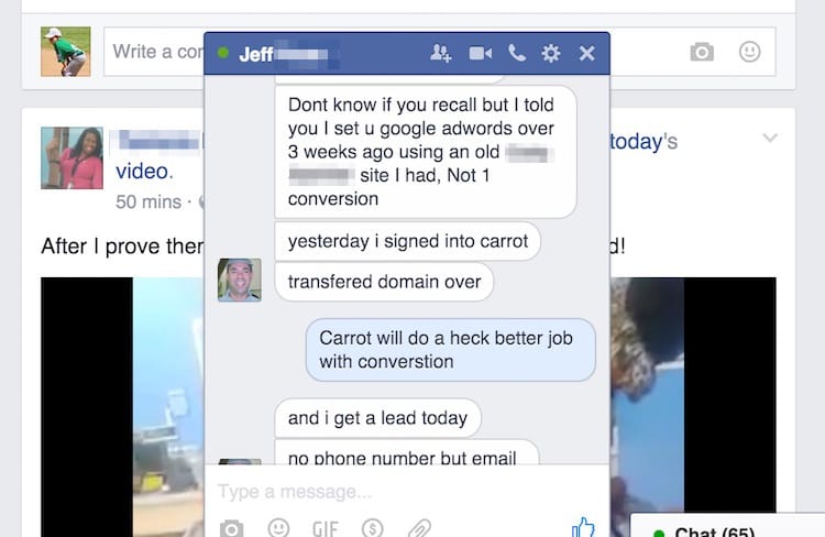 Jeff hit us up on Facebook to tell us he received his first lead from his Carrot website.