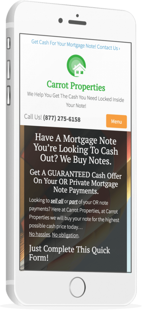 real estate note buyer websites - mobile responsive