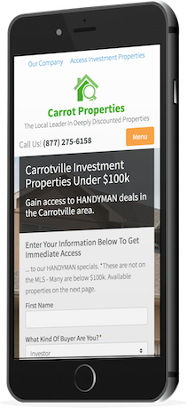 real estate cash buyer website - mobile responsive