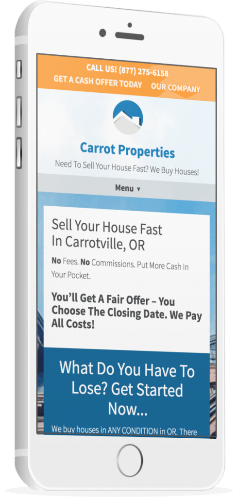 investorcarrot real estate investor website mobile example