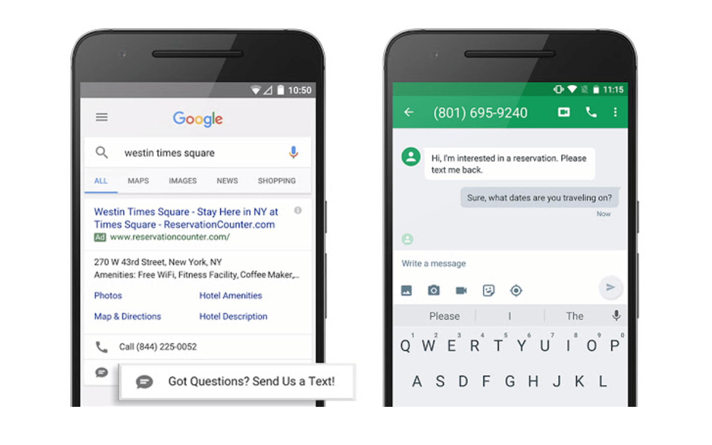 adwords message extensions
