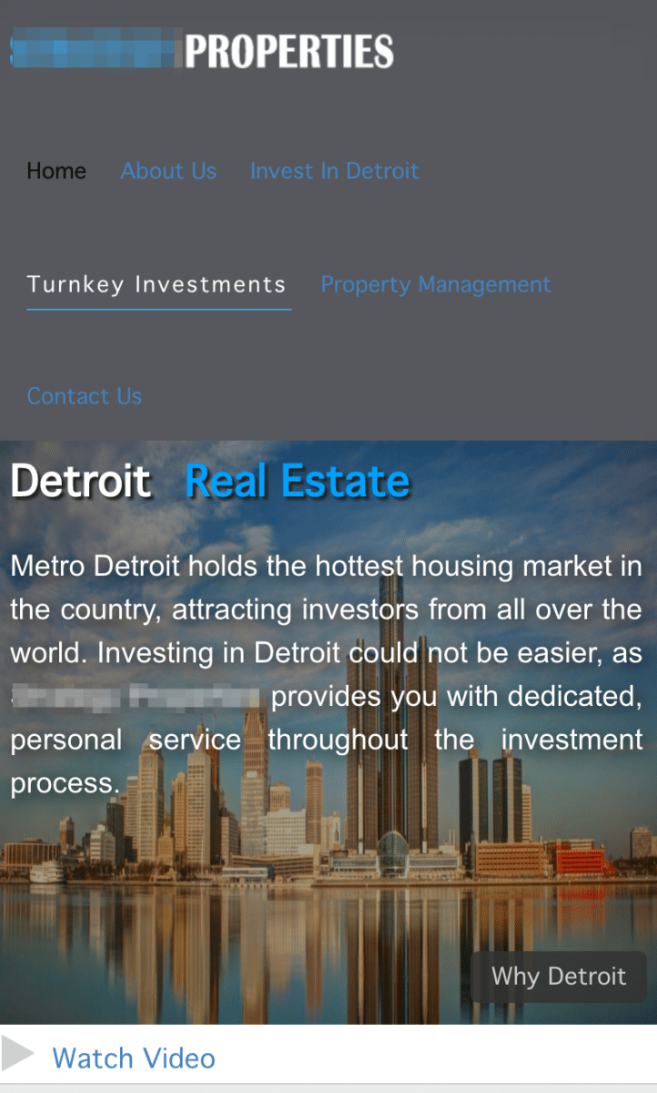 real estate investor website on mobile no-cta