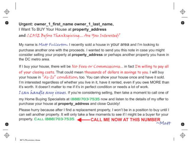 real estate investor direct mail letter
