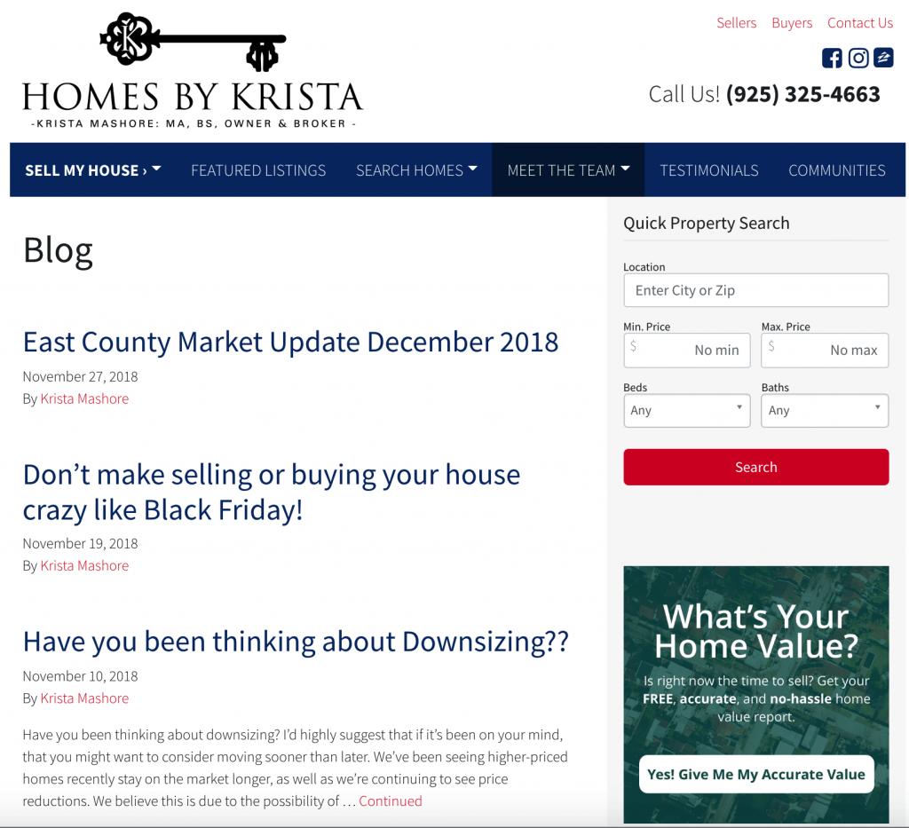 real estate agent websites blog posts