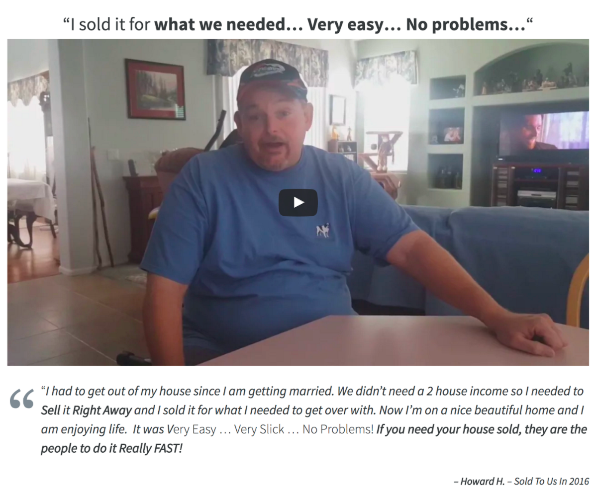 real estate investor website testimonial