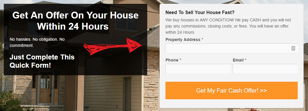 seo for real estate lead form example