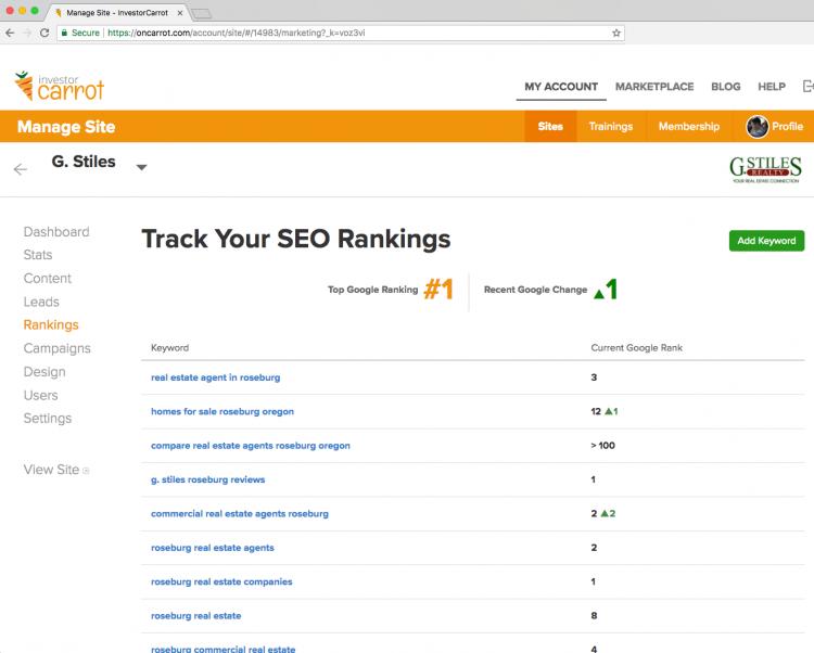 Carrot SEO ranking tracker