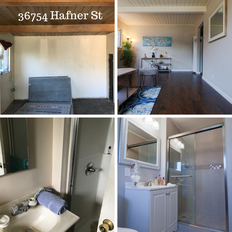 before and after pictures of a remodeled home in Newark, CA