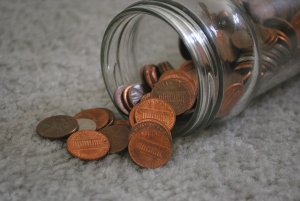 glass jar for collecting change - supplies for Cleaning out your parent's house