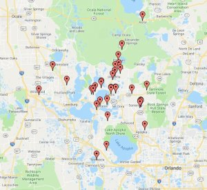 A map of some of the properties we've purchased in Central Florida.