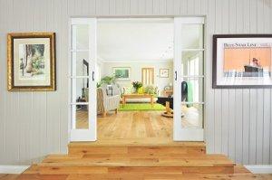 Hall way into a living room