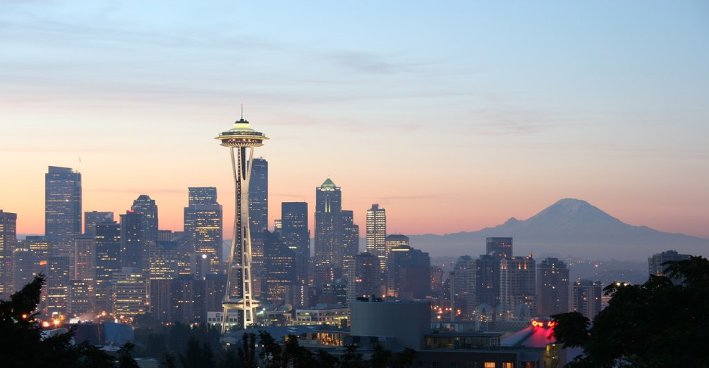 Seattle skyline and space needle on the sell your house fast in Seattle WA page