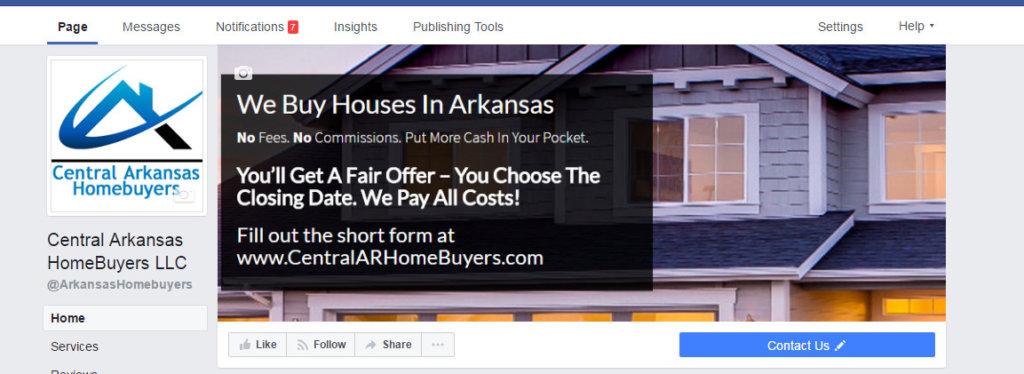 We Buy Houses Arkansas Facebook Page