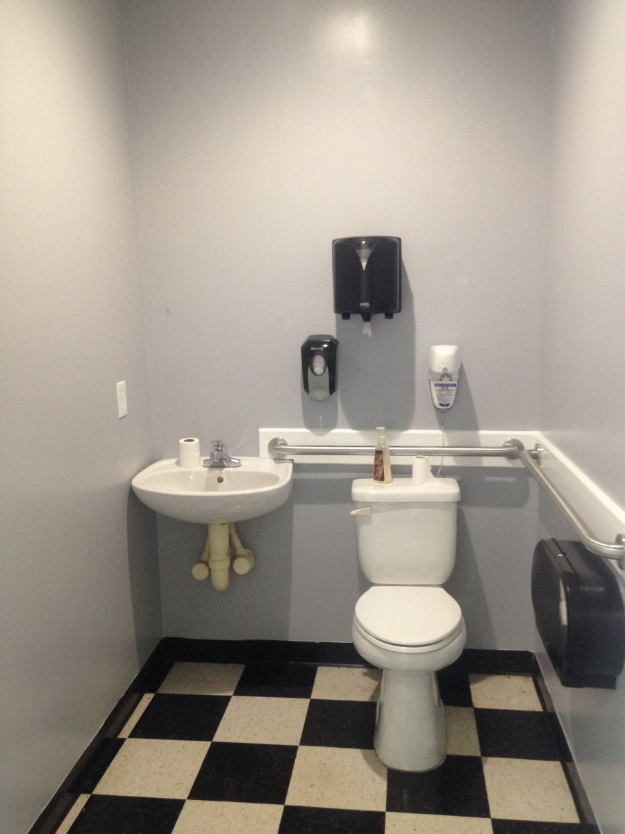 auto repair shop customer bathroom